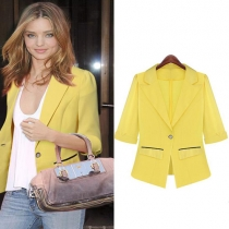 Fashion Pure Color One Buton Half Sleeve Chiffon Blazer Coat