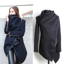 Fashion Solid Color Irregular Hem Woolen Trench Coat