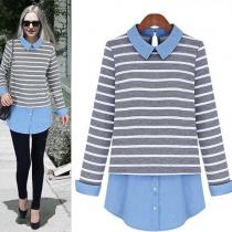 Fashion Denim Spliced Stripes Mock Two-piece Shirt
