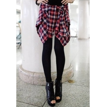 Fashion Mock Two-piece Grid Spliced Leggings