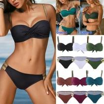 Sexy Low-waist Contrast Color Printed Push-up Bikini Set