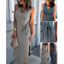 Chic Style Sleeveless Round Neck Slit Hem Lace-up Tank Dress