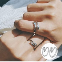 2PCS Couple Hug Rings-925 Sterling Silver-An unisex signet ring