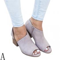 Fashion Thick Heel Peep Toe Side-zipper Shoes