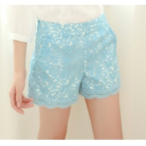 Leisure Embroidery Lace Trim  Organza  Shorts