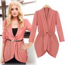 OL Style Long Sleeve Irregular Hem Solid Color Blazer