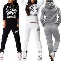 Fashion Long Sleeve Hooded Letters Printed Sports Suit