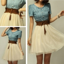 Vintage Denim Spliced Chiffon Contrast Color  Shirred Belt Dress