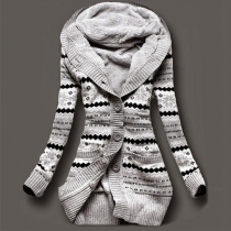Fashion Long Sleeve Hooded Printed Warm Vest Coat