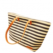 Cute Leisure Navy Style Strip Print Canvas Handbag