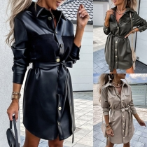 Fashion Long Sleeve POLO Collar Single-breasted PU Leather Dress