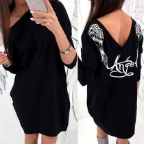 Sexy Backless Long Sleeve Round Neck Wings Printed Dress