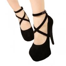 Elegant European Style Cross Strap Stiletto High-heeled Shoes