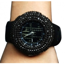 European Style Cool Bling Rhinestone Black Round Watch