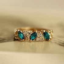 Luxury Rhinestone Emerald Rings