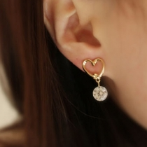 Fashion Hollow Out Heart-shaped Rhinestone Pendant Earrings