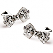 Cute Bowknot Shaped Rhinestone Stud Earrings
