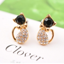 Cute Style Rhinestone Kitty Cat Shaped Stud Earrings