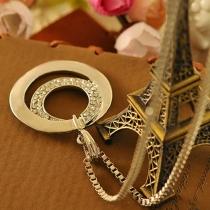 OL Style Silver-tone Rhinestone Double-ring Pendant Necklace