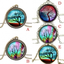 Vintage Life Tree Gemstone Pendant Necklace