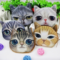 Cute 3D Cat Face Cartoon Coin Purse