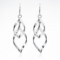 Elegant Leaf-shaped Twisted Earrings