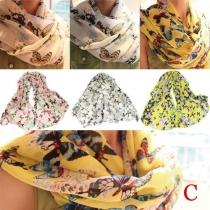 Fashion Floral Print Chiffon Shawl Scarves (4 piece/set )