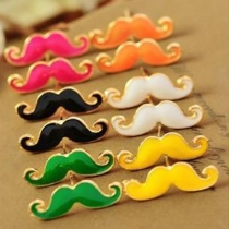 Retro Style Moustache Shaped Stud Earrings