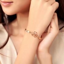 Fashion Gold-tone Rhinestone Camellia Bracelet