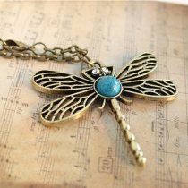 Vintage Style Hollow Out Dragonfly Pendant Necklace