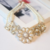 Luxurious Rhinestone Tree Branches Flower Pendant Pearl Necklace