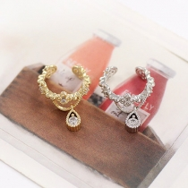 Fashion Water Drop Shaped Rhinestone Ear-clip Earrings