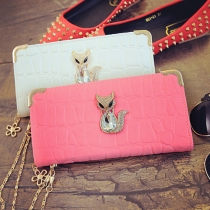 Fashion Rhinestone Fox Stone Pattern Wallet