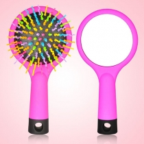 Portable Anti-static Rainbow Comb Magic Hair Brush with Mirror
