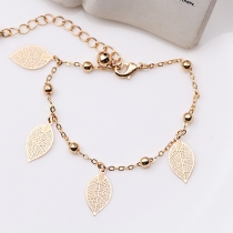 Retro Gold/Silver-tone Tree Leaves Pendant Bracelet