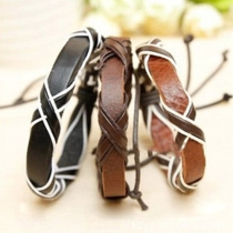 Punk Style Crossover Faux Leather Bracelet