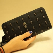 Retro Punk Style Skull Head Long Wallet