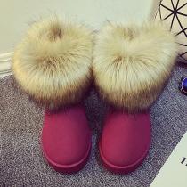 Fashion Faux Fur Spliced Anti-slip Warm Snow Boots