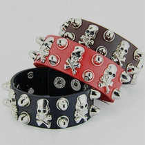 Retro Punk Style Skull Head PU Leather Bracelet