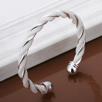 Fashion Silver-tone Twisted Bracelet