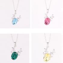 Fashion Reindeer Crystal Pendant Necklace