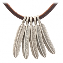 Retro Style Feathers Pendant All-match Necklace