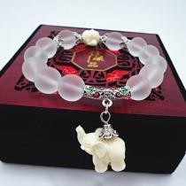 Cute Elephant Pendant Crystal Bracelet