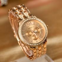 Fashion Rhinestone Alloy Watch Band Round Dial Quartz Watch