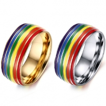 Fashion Stainless Steel Rainbow Rings