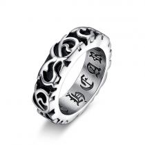 Retro Style Titanium Steel Engraved Men's Ring