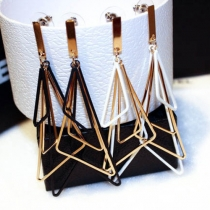 Fashion Contrast Color Geometric Pendant Earrings
