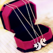 Fashion Star&Moon Pendant All-match Necklace