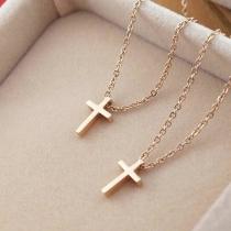 Fashion Gold-tone Cross Pendant Necklace
