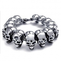 Retro Style Skull Head Men's Titanium Steel Bracelet